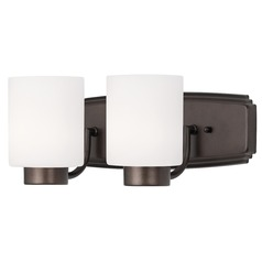 Dolan Designs Lighting Modern Bathroom Light in Bronze Finish with Cylinder Glass Shades 3502-62