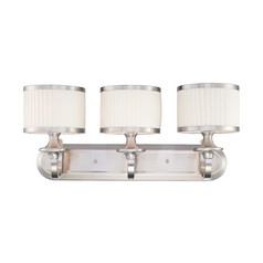 Modern Bathroom Light with White Shades in Brushed Nickel Finish