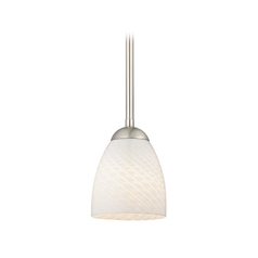 Design Classics Lighting Contemporary Mini-Pendant Light with White Art Glass Bell Shade 581-09 GL1020MB