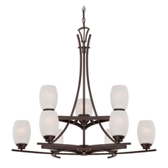 Etched White Seeded Glass Chandelier Bronze Minka Lavery