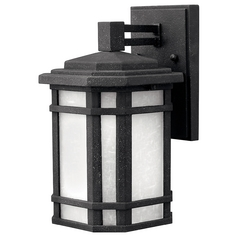 Outdoor Wall Light with White Glass in Vintage Black Finish