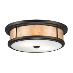Flushmount Light with Beige / Cream Mica Shades in Tiffany Bronze Finish