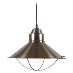Nautical Pendant Light in Brushed Steel Finish