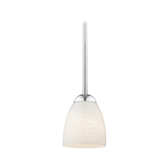 Chrome Mini-Pendant Light with White Art Glass Bell Shade