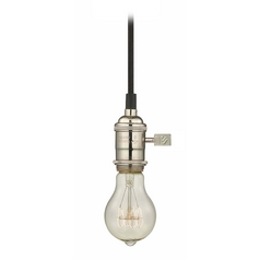Design Classics Lighting Polished Nickel Mini-Pendant Light with Vintage Edison Bulb - 25-Watts CA1-15 25A19 FILAMENT