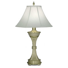 Table Lamp with White Shade in Satin Brass White Antique Finish