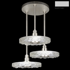 Fine Art Lamps Crystal Bakehouse Silver Multi-Light Pendant with Drum Shade