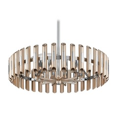 Modern Art Deco Pendant Light Antique Silver Leaf Arpeggio by Corbett Lighting