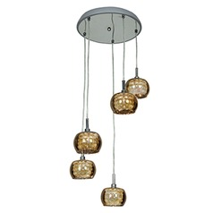 Mid-Century Modern LED Multi-Light Pendant Chrome Glam by Access Lighting