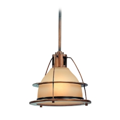Pendant Light with Amber Glass in Sunset Bronze Finish