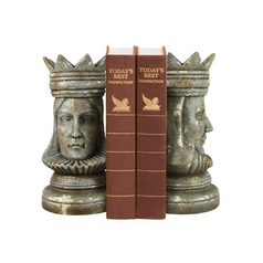 King and Queen Decorative Chess Bookend Set