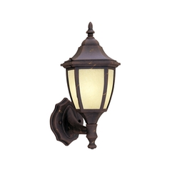 Outdoor Wall Light with Amber Glass in Autumn Gold Finish