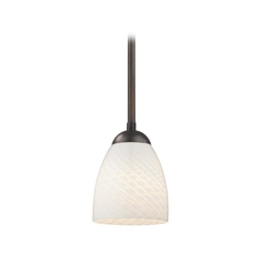 Bronze Mini-Pendant Light with White Art Glass Bell Shade
