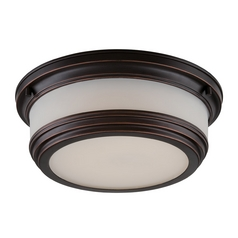 LED Flushmount Light with White Glass in Georgetown Bronze Finish