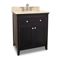 Bathroom Vanity in Aged Black Finish - Pre Assembled Top and Bowl
