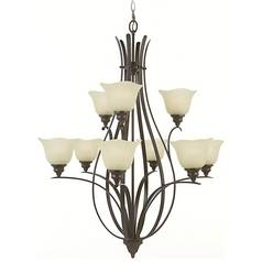 Chandelier with Beige / Cream Glass in Grecian Bronze Finish