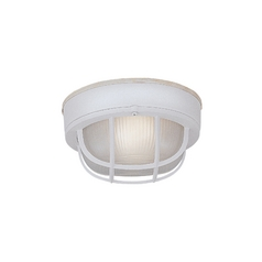 Close To Ceiling Light with White Glass in White Finish
