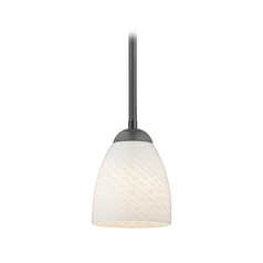 Modern Mini-Pendant Light with White Art Glass Shade