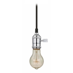 Design Classics Lighting Chrome Vintage Socket Mini-Pendant Light with 25-Watt Filament Bulb CA1-26 25A19 FILAMENT