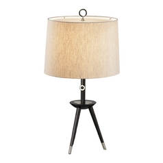 Mid-Century Modern Table Lamp Polished Nickel / Wood Jonathan Adler Ventana by Robert Abbey