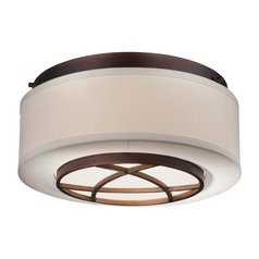 Flushmount Light with White Shade in Dark Brushed Bronze Finish