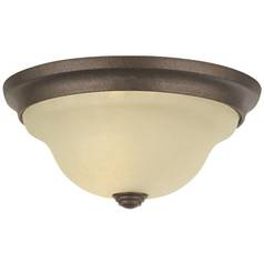 Flushmount Light with Beige / Cream Glass in Corinthian Bronze Finish