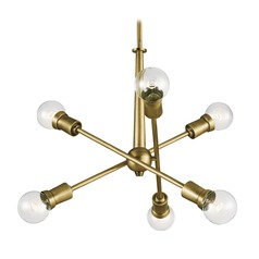 Mid-Century Modern Mini-Chandelier Natural Brass Armstrong by Kichler Lighting