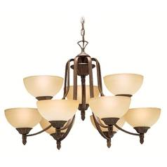 Kichler Chandelier with Beige / Cream Glass in Tannery Bronze Finish