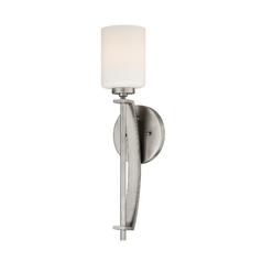 Modern Sconce Wall Light with White Glass in Antique Nickel Finish