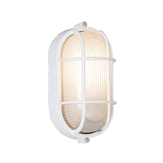 Outdoor Wall Light with White Glass in White Finish