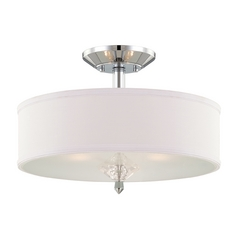 Semi-Flushmount Light with White Shades in Chrome Finish