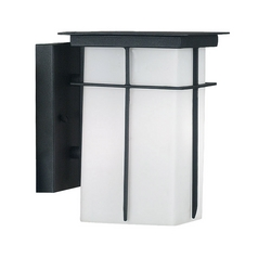 Modern Outdoor Wall Light with White Glass in Textured Black Finish