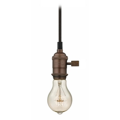 Design Classics Lighting Bronze Finish Vintage Bare Bulb Mini-Pendant Light with 25-Watt Bulb CA1-220 25A19 FILAMENT