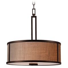 Kenroy Home Lighting Keen Bronze Pendant Light with Drum Shade