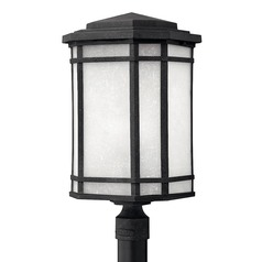 LED Post Light with White Glass in Vintage Black Finish