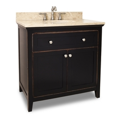 Hardware Resources Bathroom Vanity in Aged Black Finish VAN093-36-T