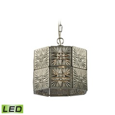 Elk Lighting Glass Tile Polished Chrome LED Pendant Light with Octagon Shade