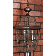Modern Post Light with Clear Glass in Aged Copper Finish