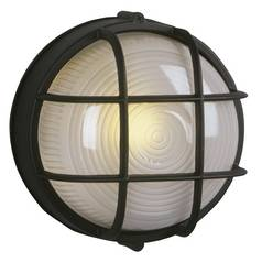 Marine Bulkhead Outdoor Wall Light in Black