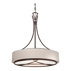 Drum Pendant Light with White Shade in Dark Brushed Bronze Finish