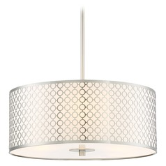 George Kovacs Dots Brushed Nickel Pendant Light with Drum Shade