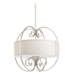 Progress Lighting Overbrook Silver Ridge Pendant Light with Drum Shade