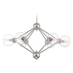 Mid-Century Modern Chandelier Polished Nickel Bonn by Savoy House