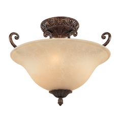 Semi-Flushmount Light with Beige / Cream Glass in Burnt Umber Finish