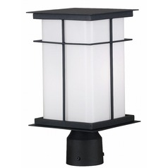 Modern Post Light with White Glass in Textured Black Finish