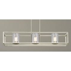 3-Light Linear Chandelier with Clear Glass in Satin Nickel
