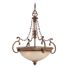Pendant Light with Beige / Cream Glass in Pierre Patina Finish