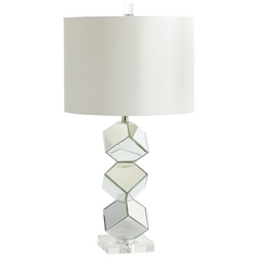 Cyan Design Illusion Mirrored Glass Table Lamp with Drum Shade