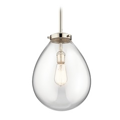 Modern Pendant Light Polished Nickel Claudia by Kichler Lighting