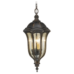 Outdoor Hanging Light with Amber Glass in Walnut Finish